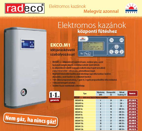 Radeco EKCO.M1F 8z elektromos kazán